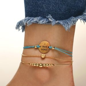 Jewelry - I Love Mama 3 Pieces String Chain Bracelet Anklet